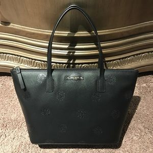 Kate Spade hani haven lane black glitter tote bag